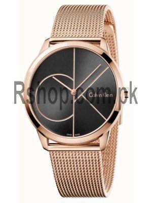 Calvin Klein Mens Minimal Rose Gold Toned Mesh  Bracelet Watch Price in Pakistan