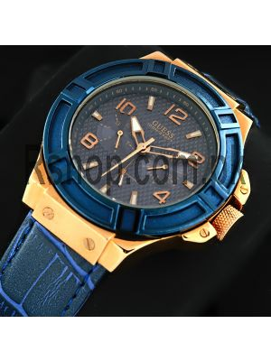 Guess Men's Rigor Blue & Rose Gold-Tone Watch Price in Pakistan