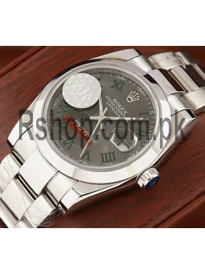 Rolex Datejust Grey Dial with Green Roman Numeral Markers Men's Watch