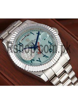 Rolex Day Date Ice Blue Arabic Dial Swiss Watch