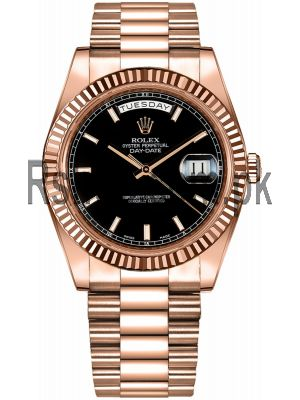 Rolex Day-Date  Black Dial Rose Gold Watch Price in Pakistan